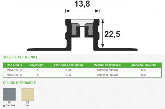 Schiță dimensiuni Profil de dilatatie din aluminiu - MSA225