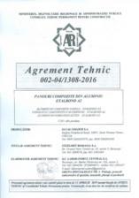 Agrement tehnic panouri compozite din aluminiu Etalbond A2 ETALBOND