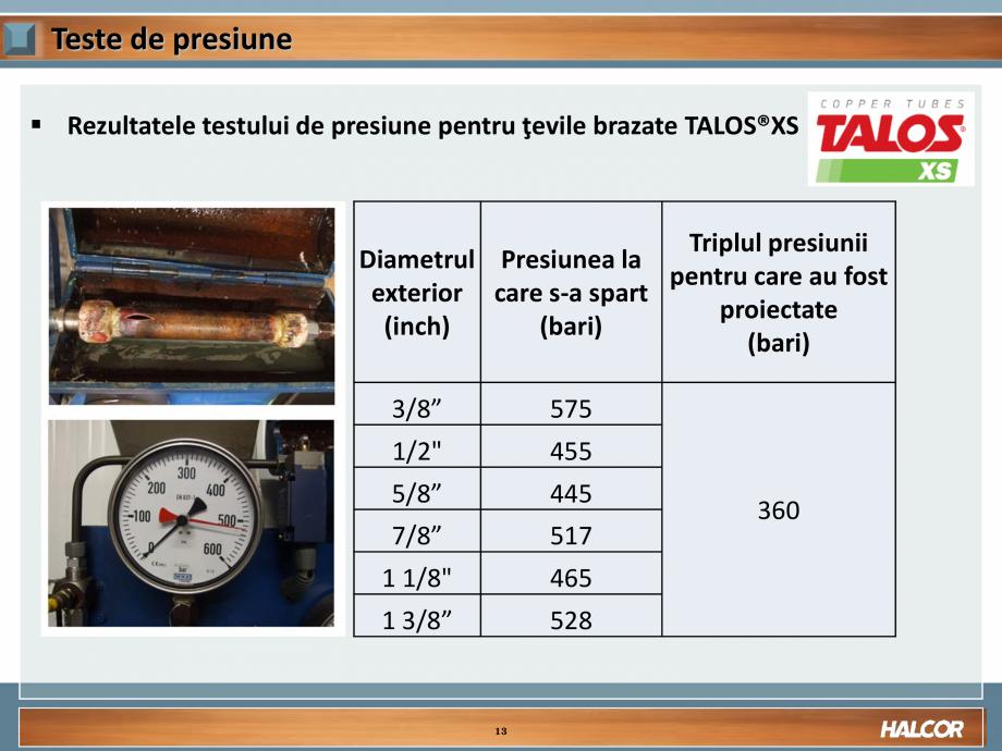 Pagina 13 - Tevi din aliaj de cupru pentru aplicatii de CO2 de inalta presiune  HALCOR TALOS®XS ...