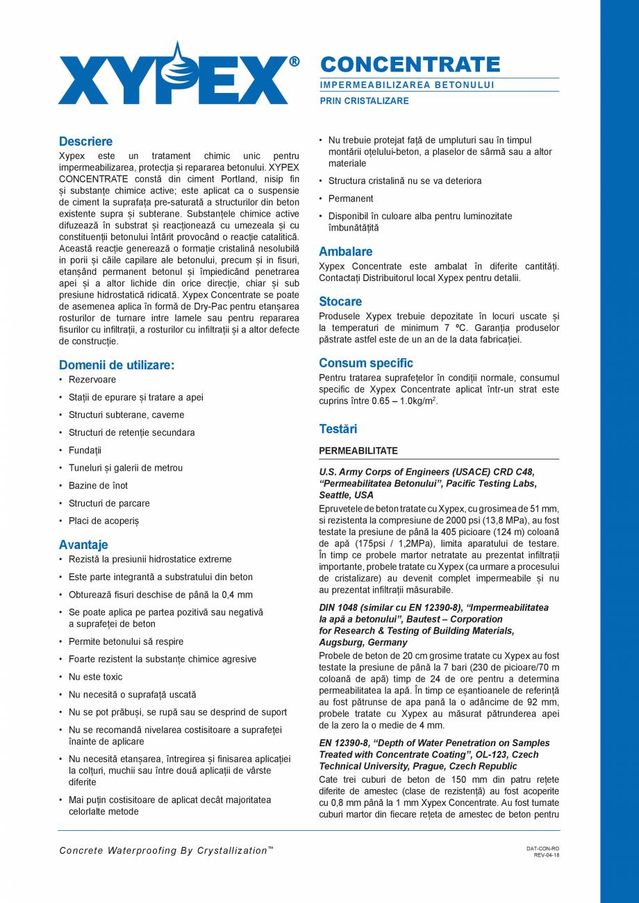 Pagina 1 - Tratament chimic pentru impermeabilizarea si protectia betonului si a otelului beton...