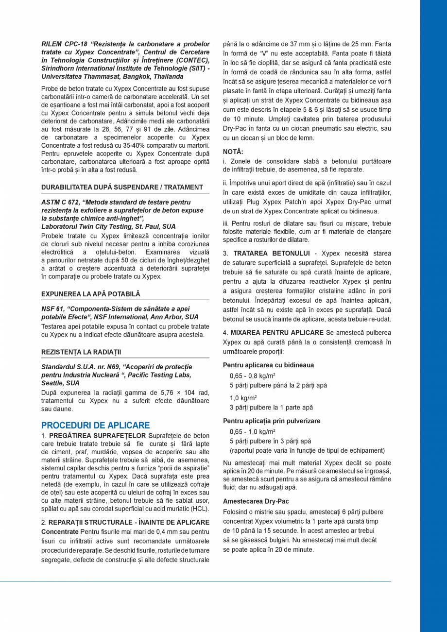 Pagina 3 - Tratament chimic pentru impermeabilizarea si protectia betonului si a otelului beton...