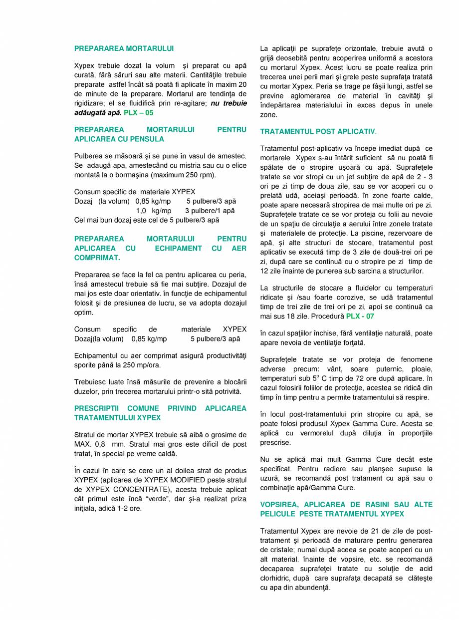 Pagina 2 - Tratament chimic pentru impermeabilizarea si protectia betonului si a otelului XYPEX...