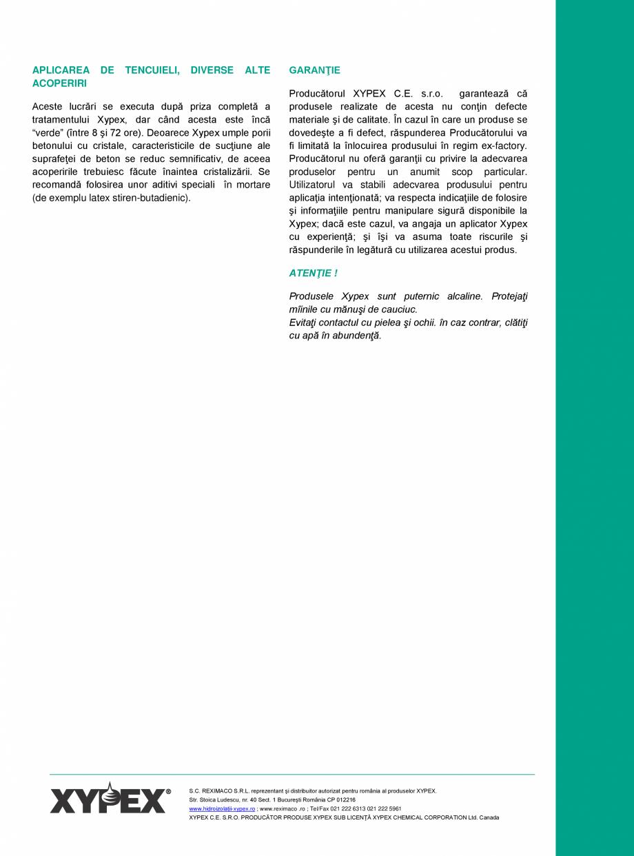Pagina 3 - Tratament chimic pentru impermeabilizarea si protectia betonului si a otelului XYPEX...