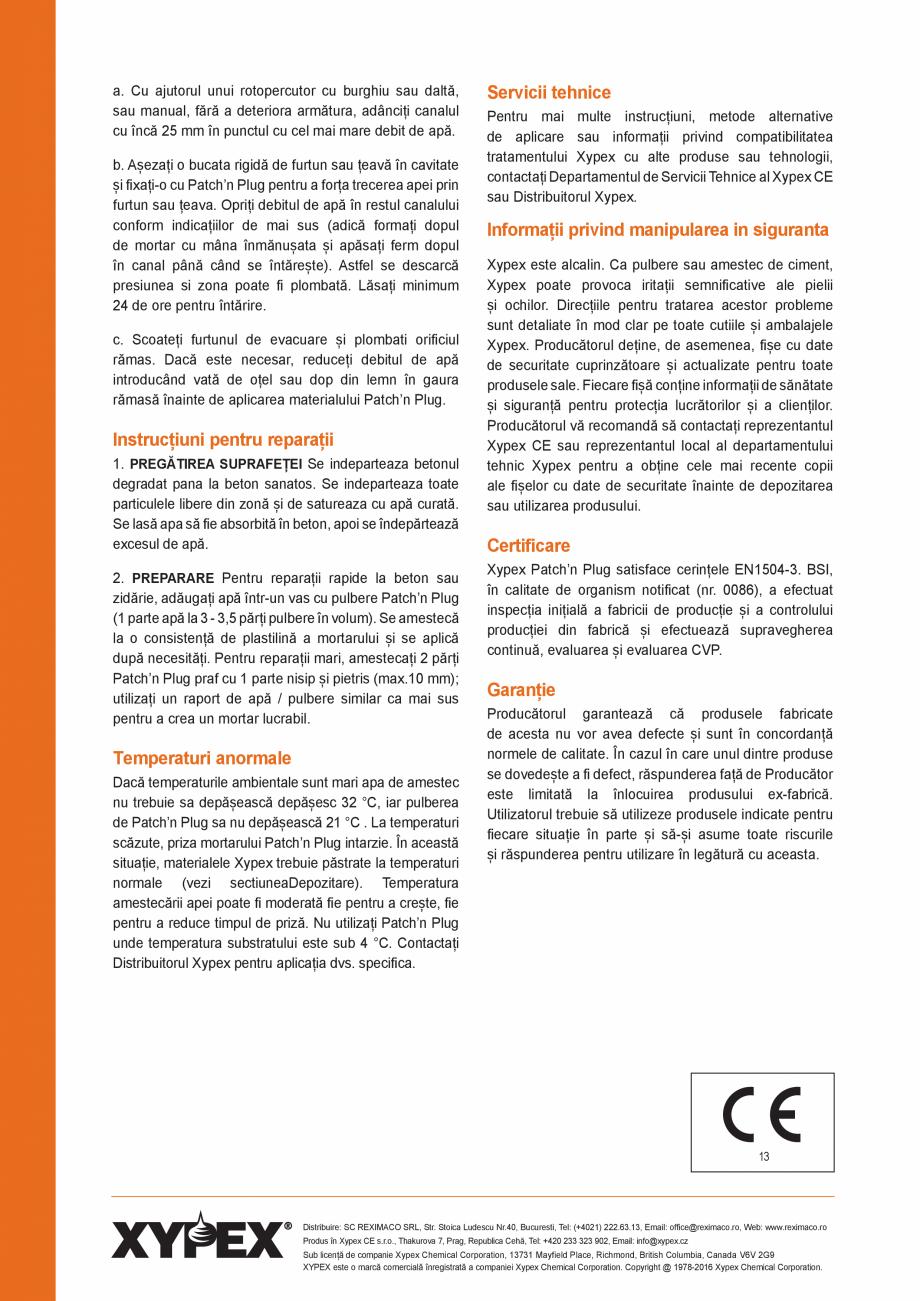 Pagina 2 - Ciment hidraulic pentru reparatia betoanelor XYPEX XYPEX PATCH N PLUG Fisa tehnica Romana...