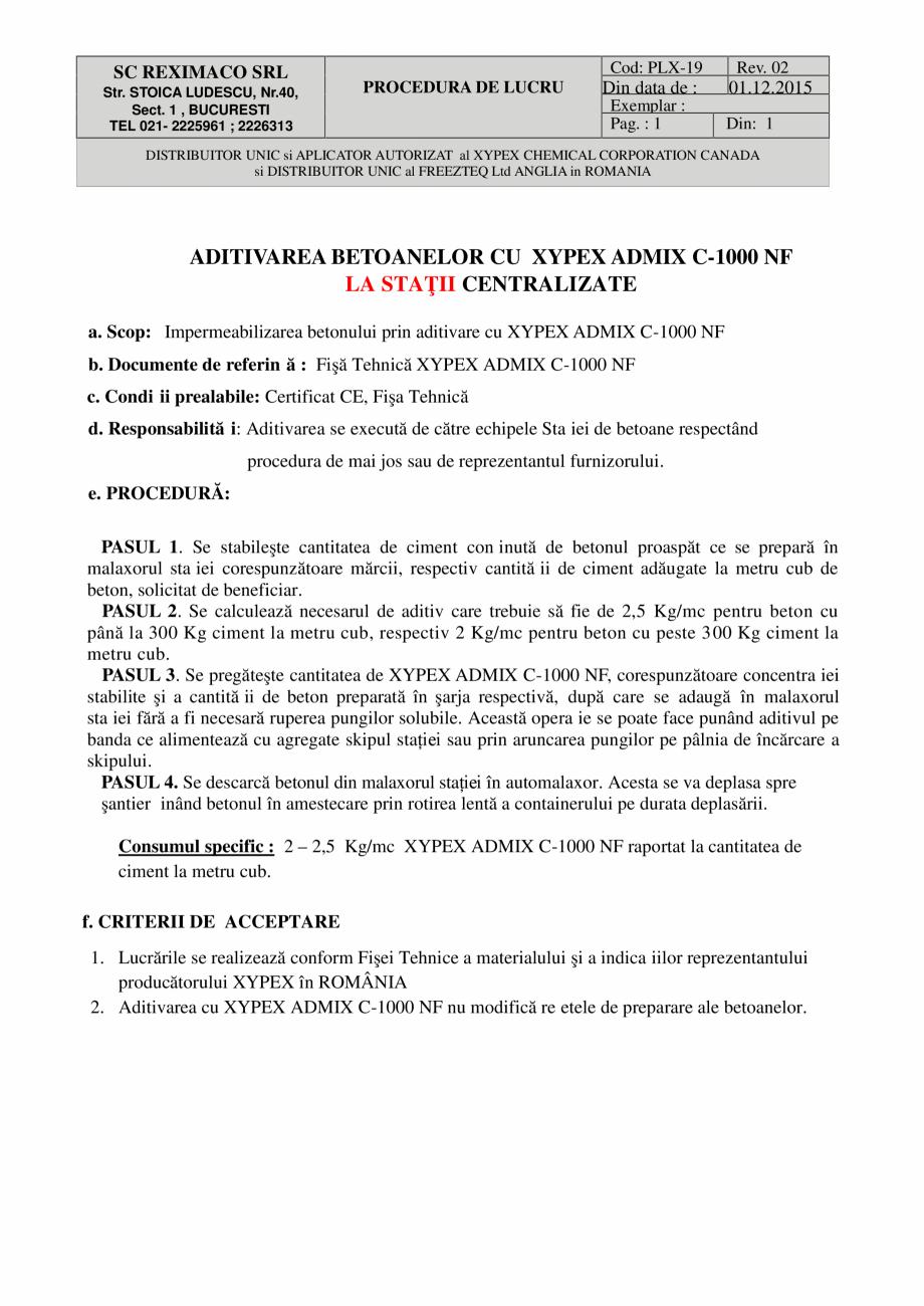 Pagina 1 - Aditivarea betoanelor cu XYPEX ADMIX C-1000 NF la statii centralizate XYPEX XYPEX ADMIX C...