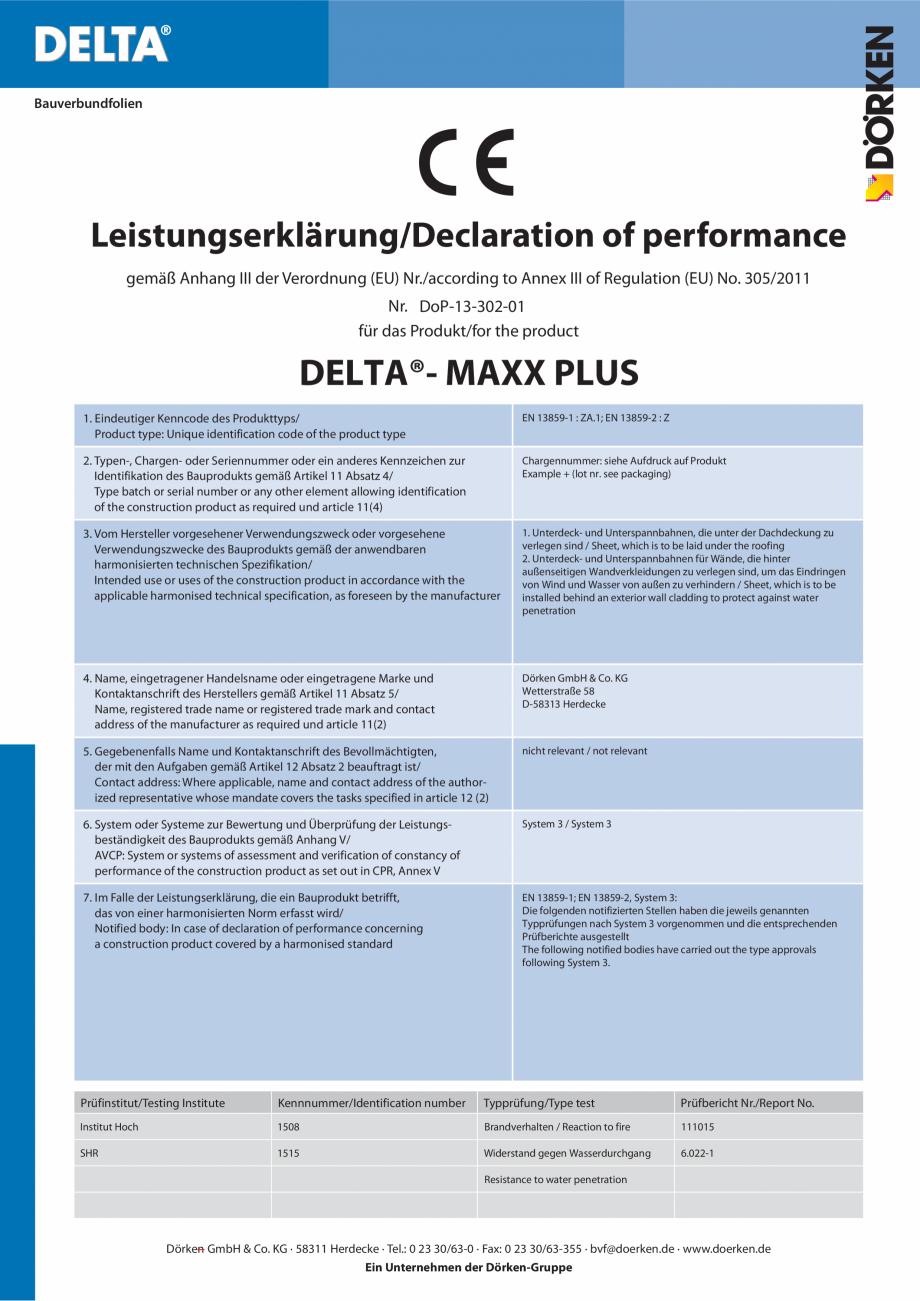 Certificare produs Declaratie de performanta  MAXX PLUS DELTA Folii anticondens pentru toate sistemele de acoperisuri FINAL DISTRIBUTION Bauverbundfolien  Leistungserklärung/Declaration of performance gemäß Anhang III der Verordnung... - Pagina 1