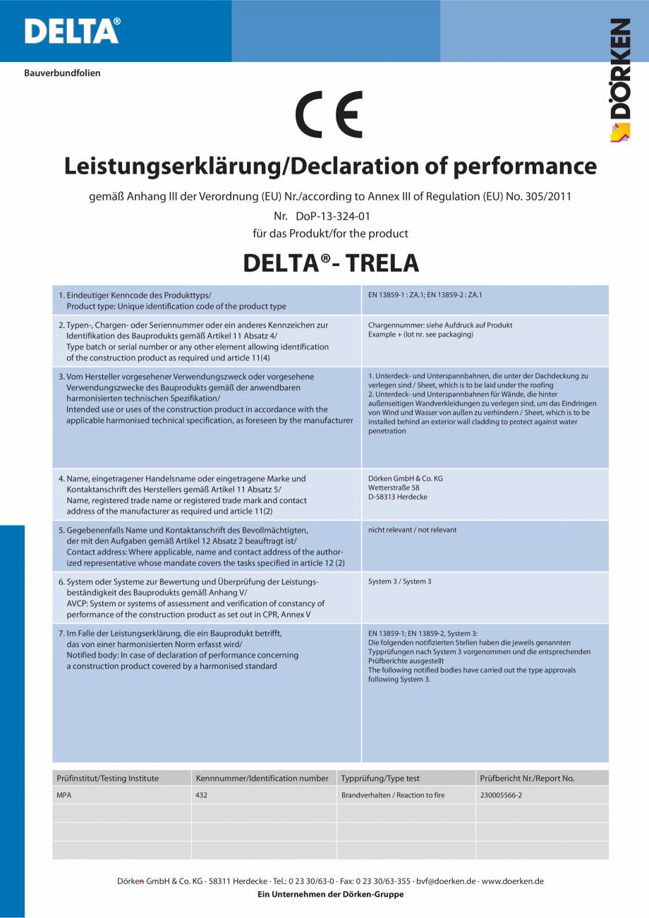 Certificare produs Declaratie de performanta  TRELA DELTA Folii anticondens pentru toate sistemele de acoperisuri FINAL DISTRIBUTION Bauverbundfolien  Leistungserklärung/Declaration of performance gemäß Anhang III der Verordnung... - Pagina 1