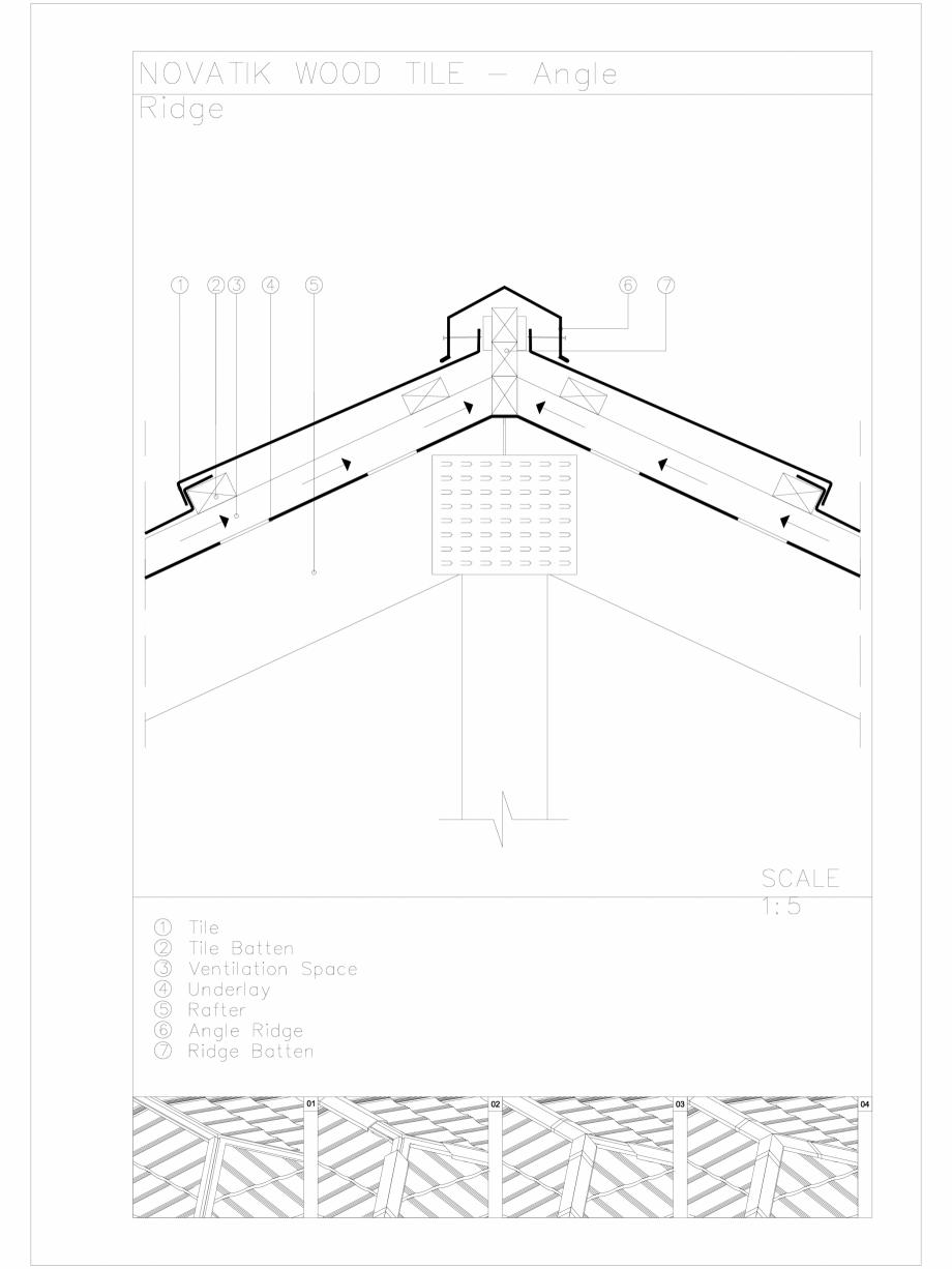 Pagina 1 - CAD-DWG Novatik Wood Tile _ 04 Ridge_Angle Novatik NATURA Detaliu de produs