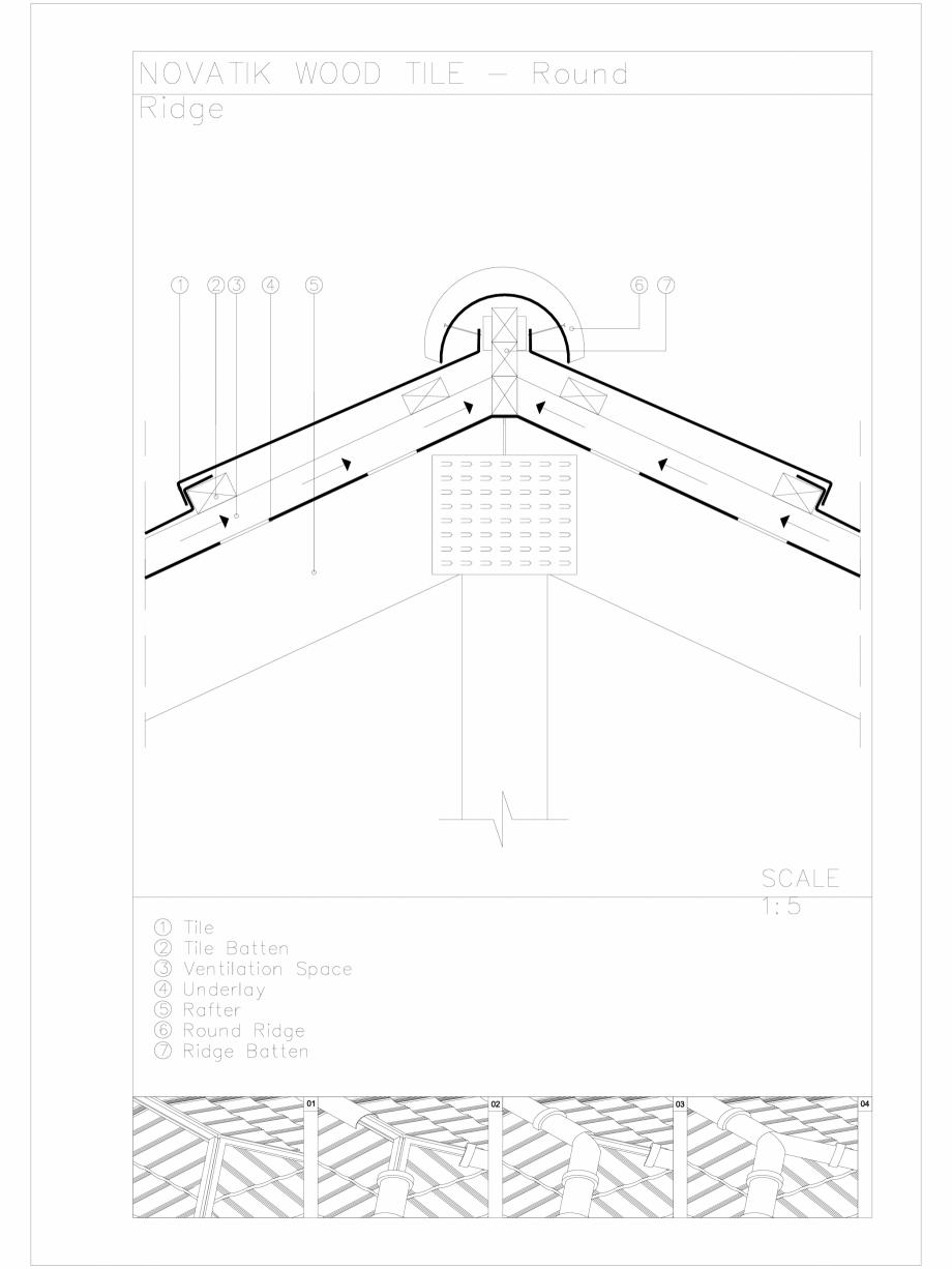 Pagina 1 - CAD-DWG Novatik Wood Tile _ 04 Ridge_Round Novatik NATURA Detaliu de produs