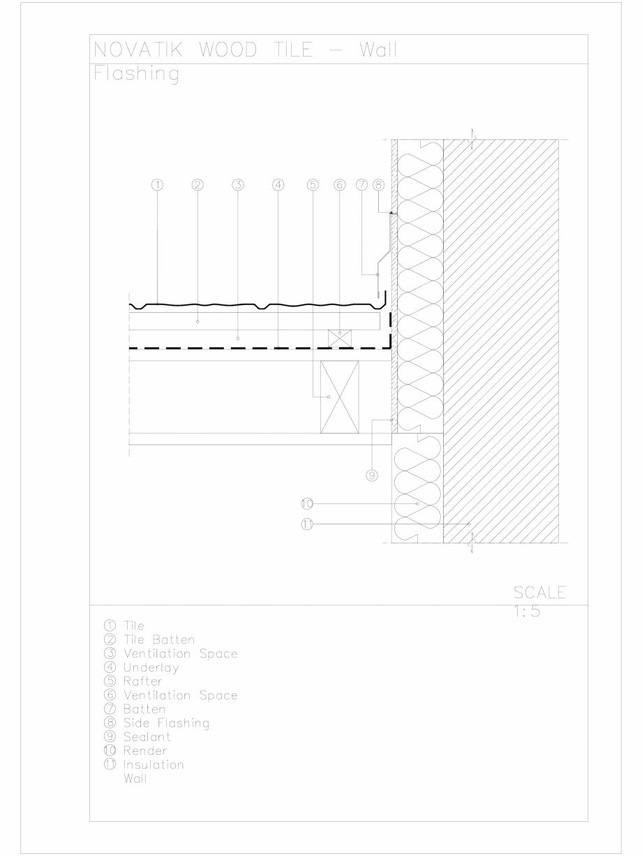 Pagina 1 - CAD-DWG Novatik Wood Tile _ 08 Wall Flashing 1 Novatik NATURA Detaliu de produs