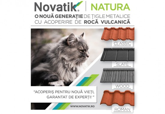 Tigla metalica cu acoperire de roca vulcanica  Novatik NATURA