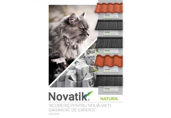 Țiglă metalică cu acoperire de rocă vulcanică Novatik NATURA