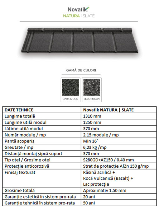 Schiță dimensiuni Țigle metalice cu acoperire de rocă vulcanică Novatik NATURA | SLATE