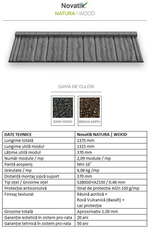 Schiță dimensiuni Țigle metalice cu acoperire de rocă vulcanică Novatik NATURA | WOOD