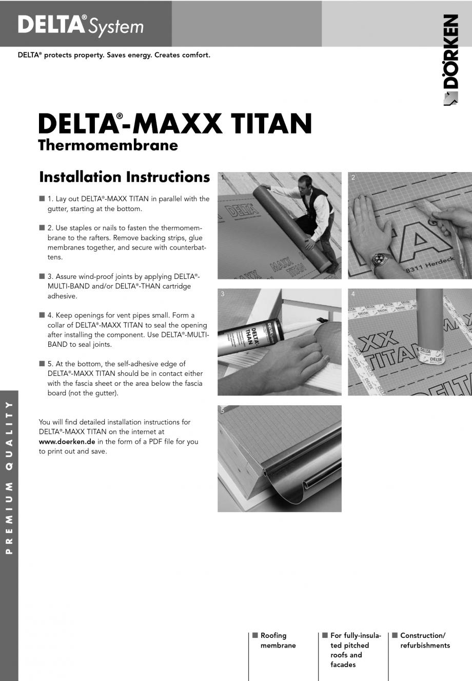 Pagina 1 - Membrana termoizolanta pentru acoperisuri DELTA MAXX TITAN Instructiuni montaj,...