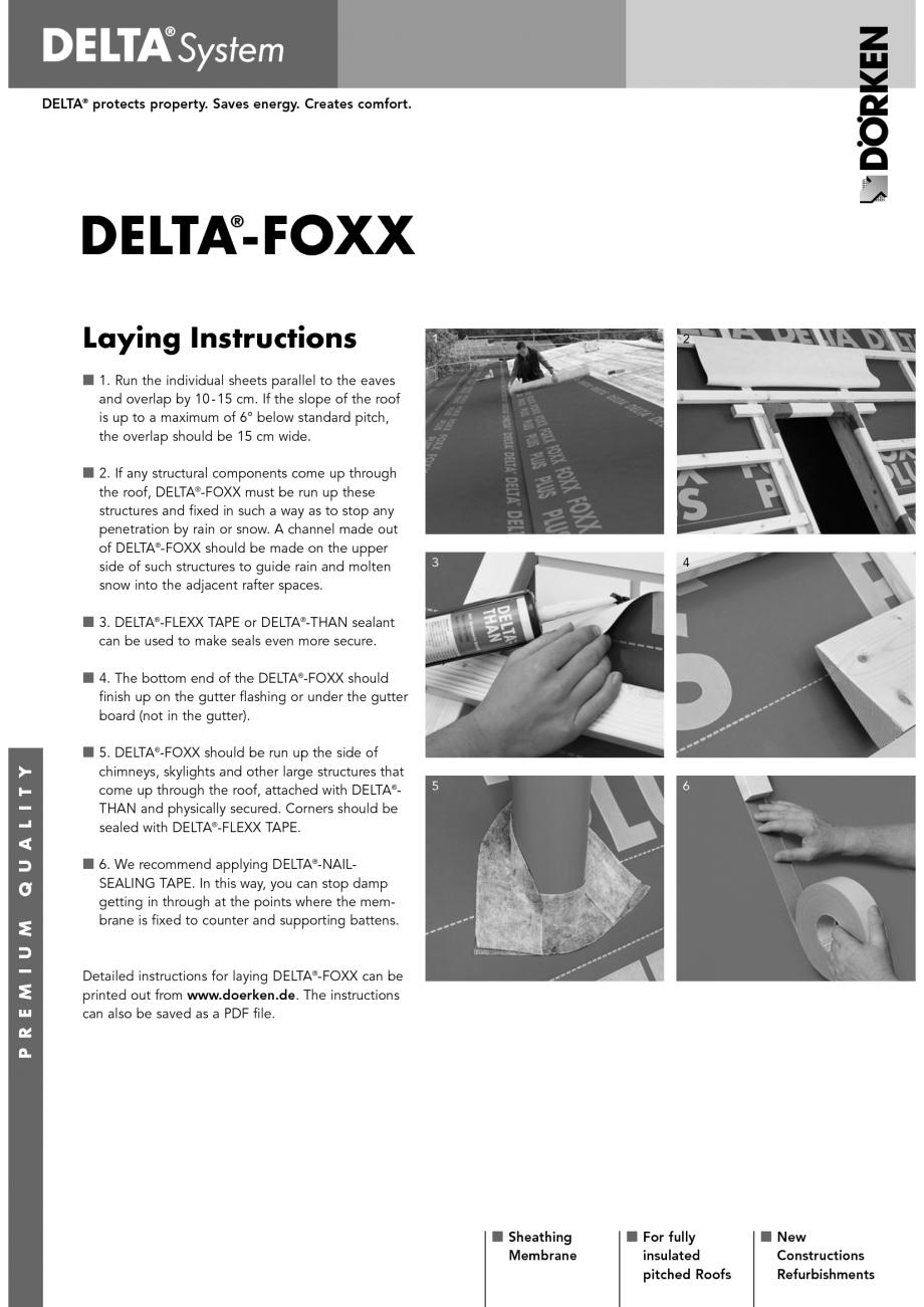 Pagina 1 - Membrane pentru acoperisuri neventilate cu astereala DELTA FOXX Instructiuni montaj,...