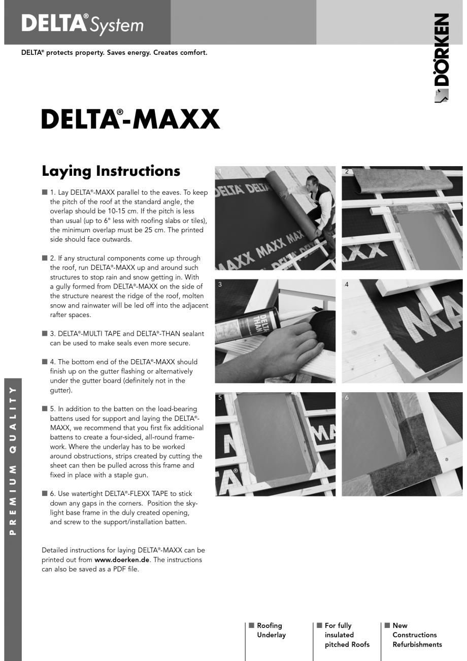 Pagina 1 - Membrane pentru acoperisuri neventilate fara astereala DELTA MAXX Instructiuni montaj,...