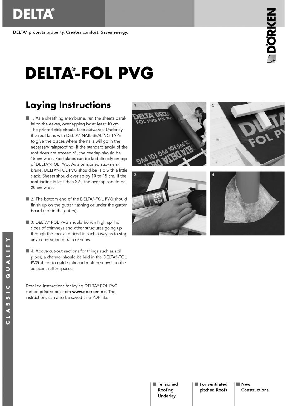 Pagina 1 - Membrane pentru acoperisuri ventilate cu astereala DELTA FOL PVG Instructiuni montaj,...