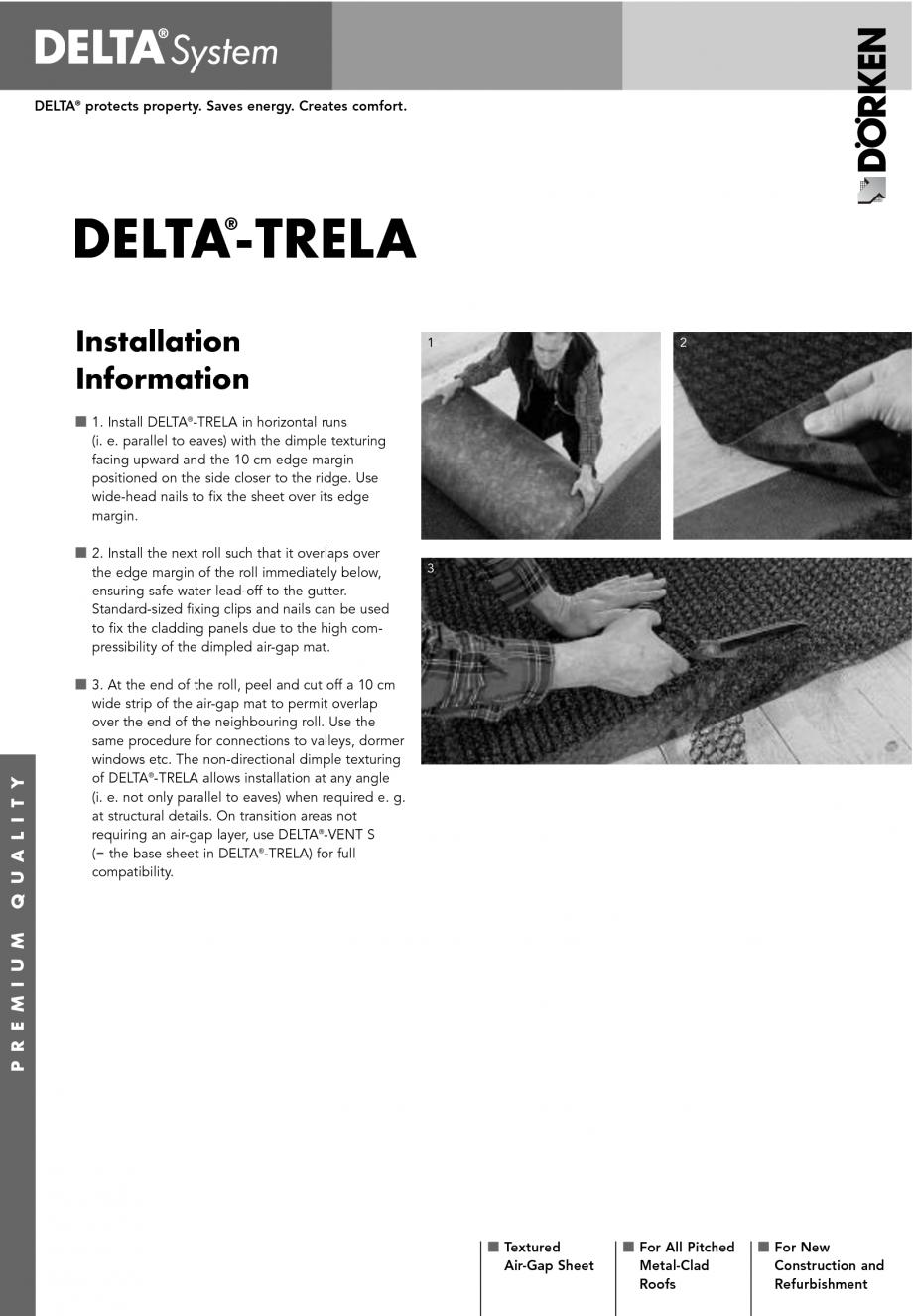 Pagina 1 - Patura de separare pentru structuri metalice inclinate DELTA TRELA Instructiuni montaj, ...