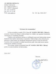 Scrisoare de recomandare Academia Romana