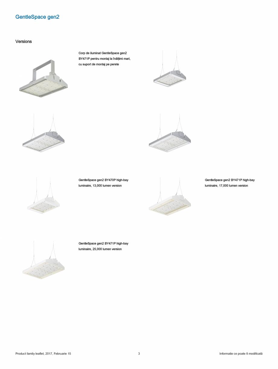 Fisa tehnica Iluminat industrial pentru tavane inalte GentleSpace gen2 PHILIPS Iluminat industrial pentru tavane inalte POWER ELECTRIC (variante de 17.000 şi 25.000 lm)  comenzi  Sursa de lumină  Philips Fortimo LED Line 1R  Material... - Pagina 3