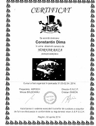 Certificat hornar Dima Calin