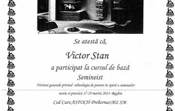 Certificat seminist Victor Stan ARFOC TEHNO