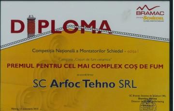 "Diploma Schiedel ""Cel mai complex cos de fum"" ARFOC TEHNO"