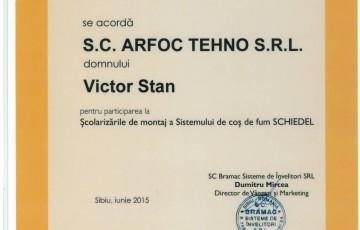 Certificat montator autorizat Schiedel - Stan Victor ARFOC TEHNO