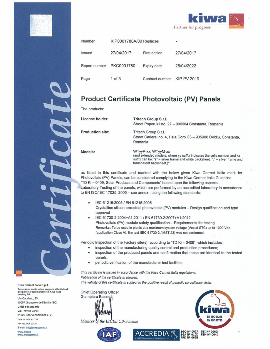 Pagina 1 - Certificat KIWA pentru panourile fotovoltaice WATTROM Certificare produs Engleza