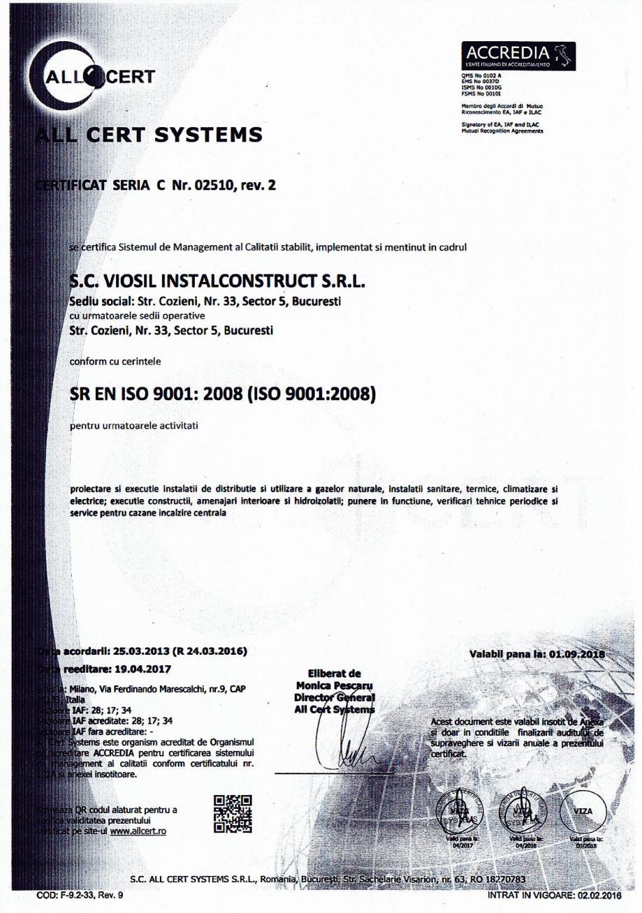 Pagina 1 - Certificat sistemul de management al calitatii ISO 9001 14000 18001  Certificare produs...