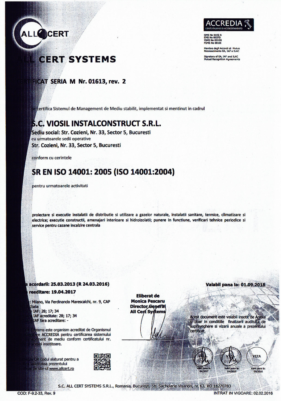 Pagina 3 - Certificat sistemul de management al calitatii ISO 9001 14000 18001  Certificare produs...