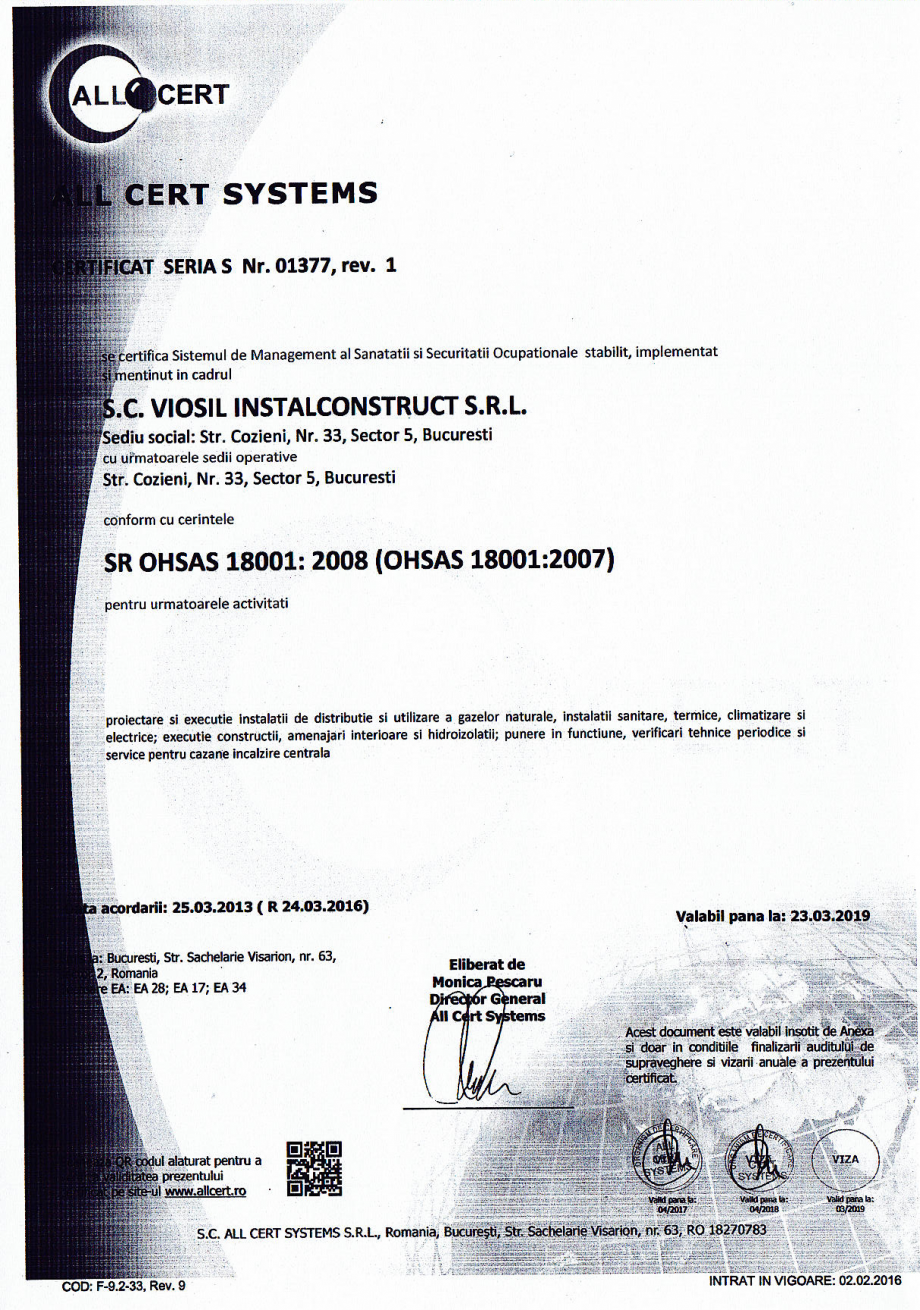 Pagina 5 - Certificat sistemul de management al calitatii ISO 9001 14000 18001  Certificare produs...
