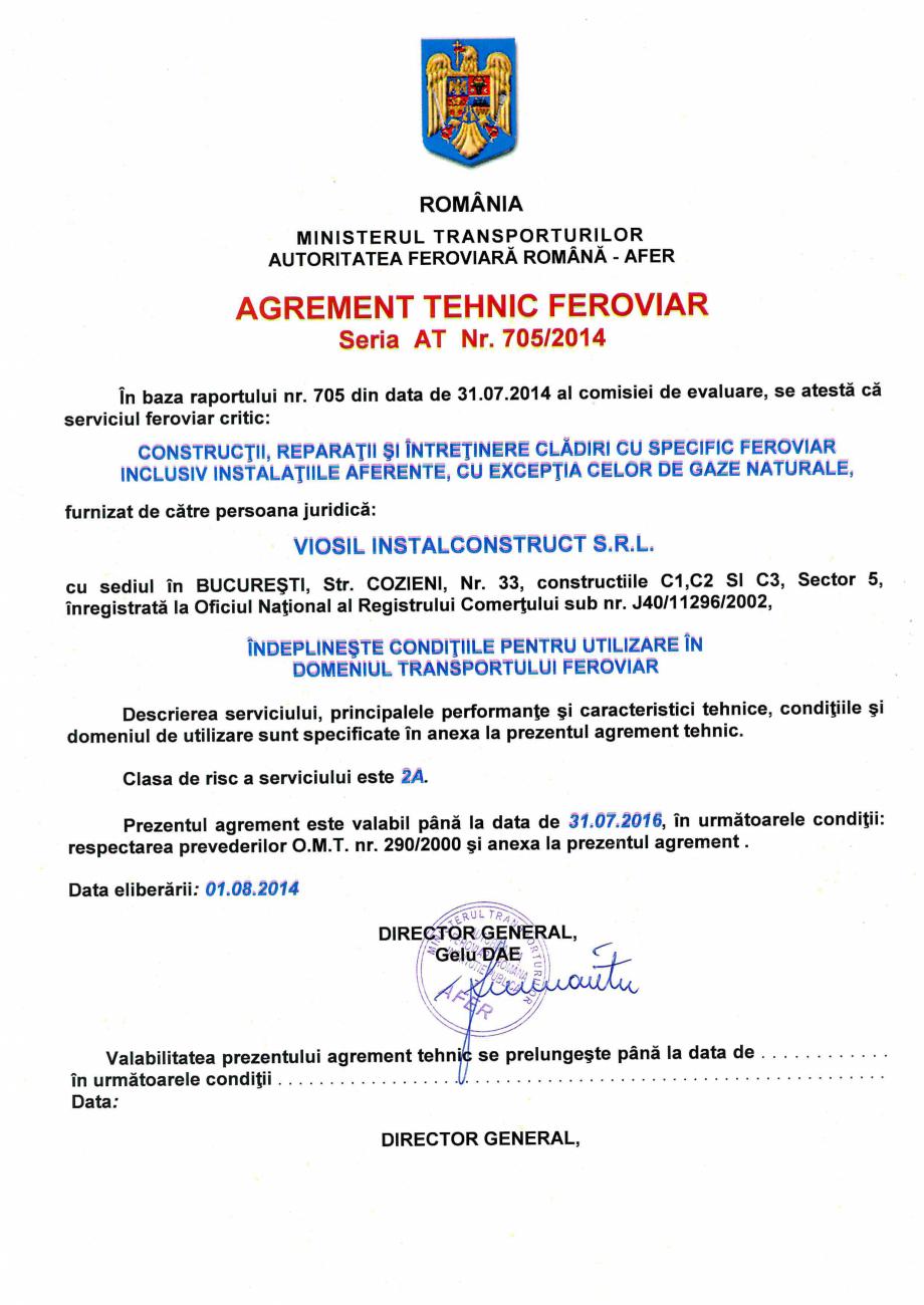 Pagina 1 - Agrement tehnic feroviar AFER  Certificare produs Romana