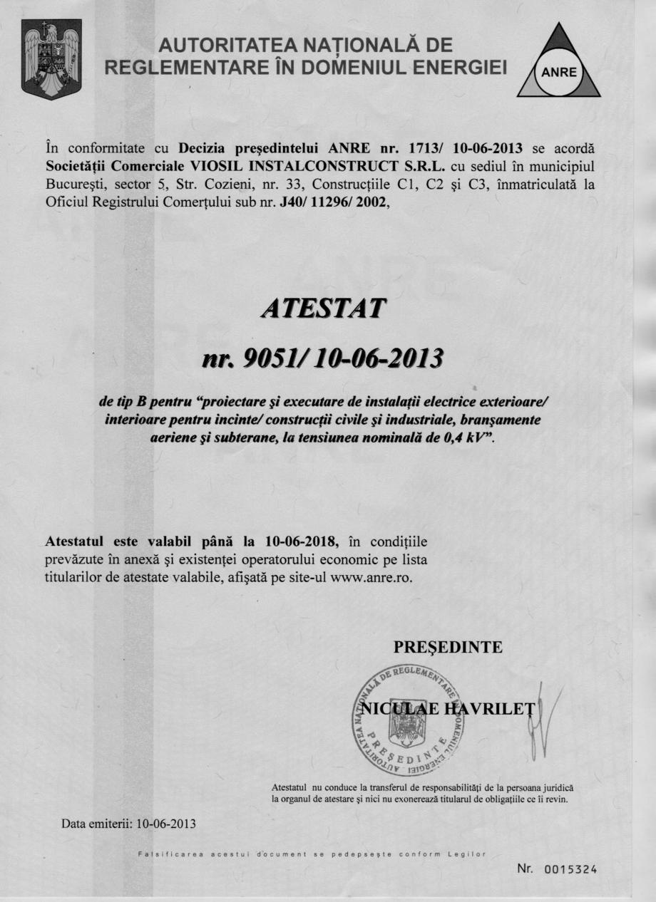 Pagina 1 - Atestat ANRE pentru proiectare si executie instalatii electrice (Tip B)  Certificare...