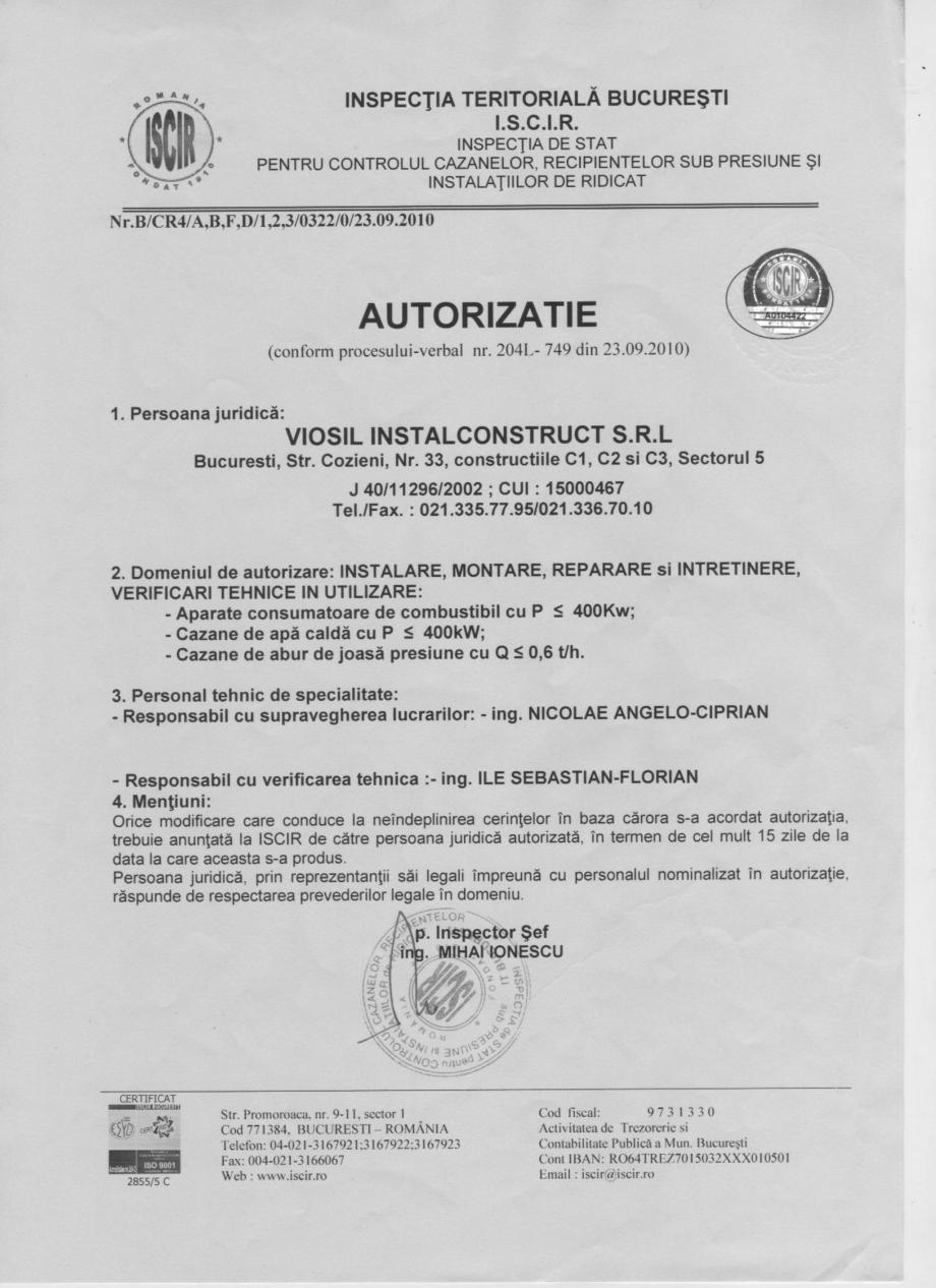 Pagina 1 - Autorizatie ISCIR - Cazane A1  Certificare produs Romana