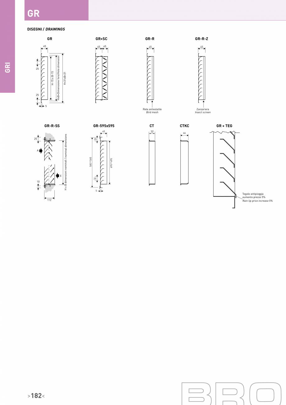 Pagina 3 - Grila cu jaluzele fixe inclinate la 45° Brofer Fisa tehnica Italiana, Engleza on...