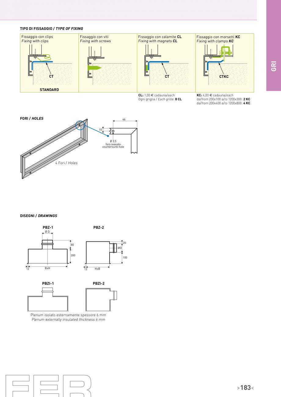 Pagina 4 - Grila cu jaluzele fixe inclinate la 45° Brofer Fisa tehnica Italiana, Engleza -  - ...