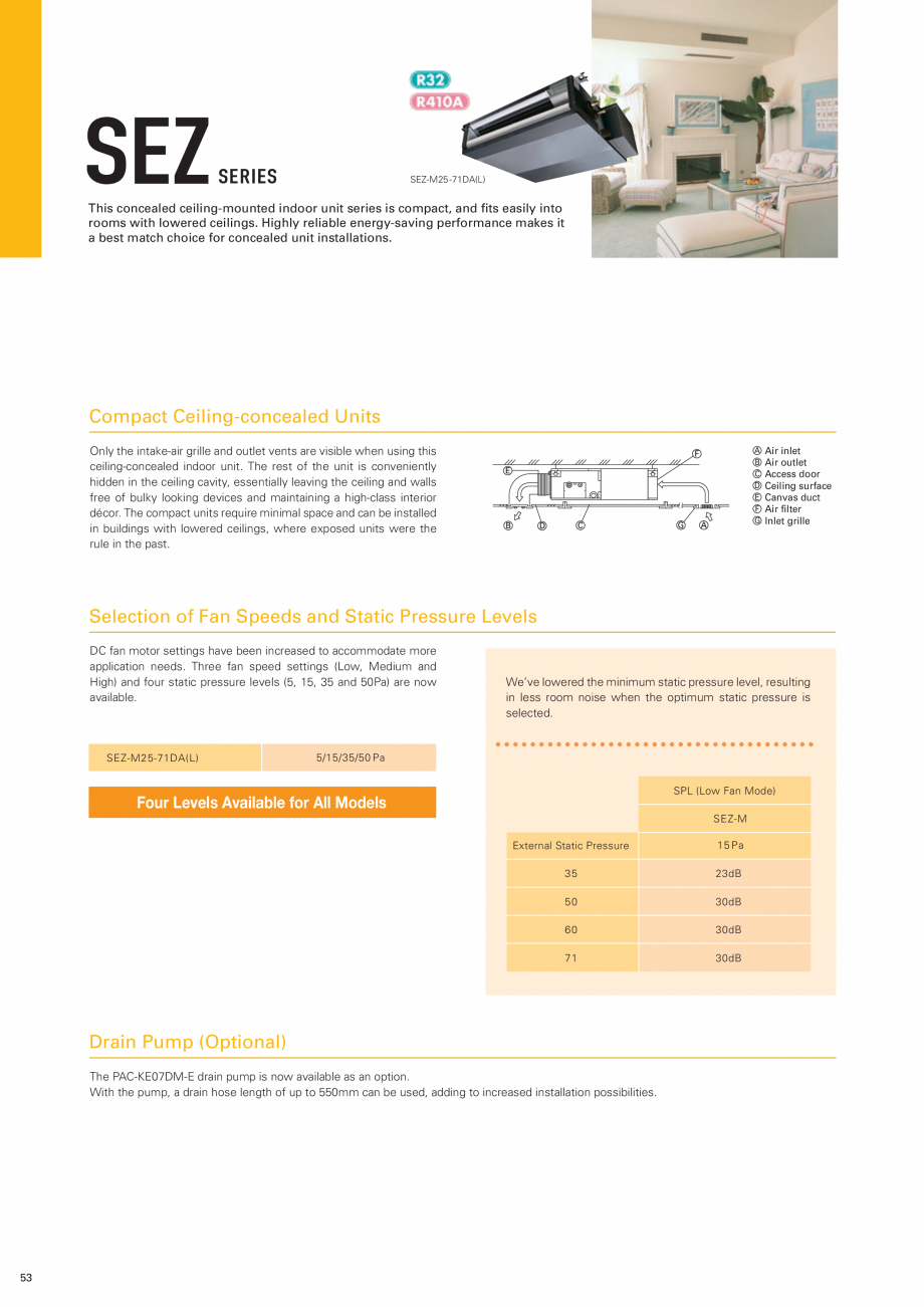 Pagina 1 - Unitate necarcasata pentru plafon fals - tip DUCT MITSUBISHI ELECTRIC SEZ Fisa tehnica...