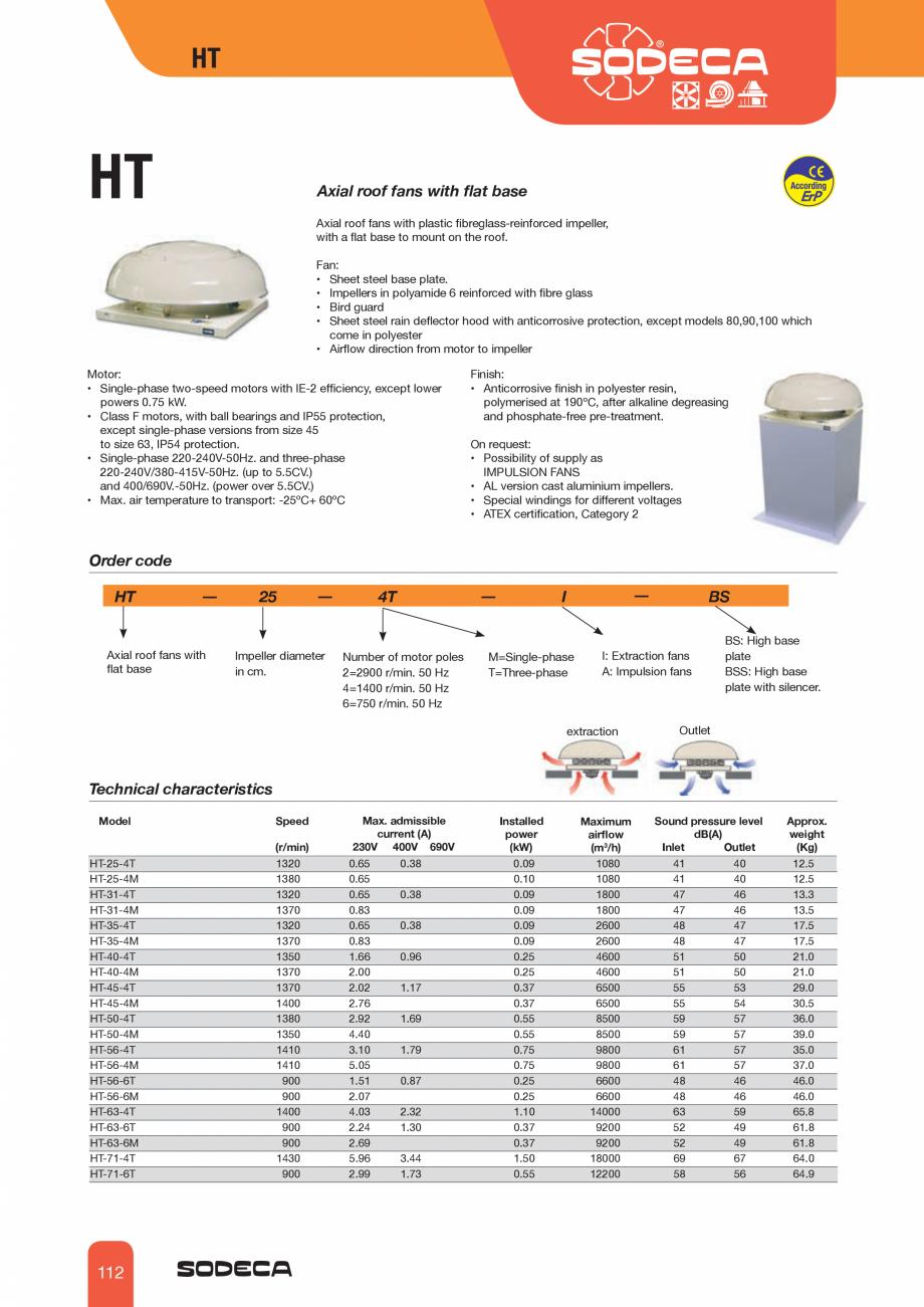 Pagina 1 - Ventilator axial de acoperis SODECA HT Fisa tehnica Engleza HT  HT  Axial roof fans with ...