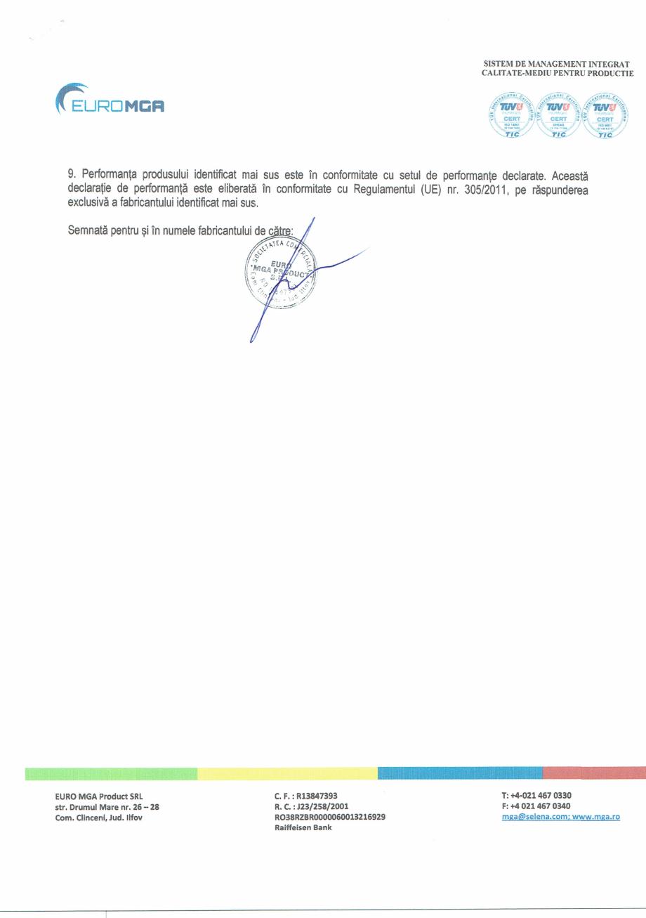 Certificare produs Declaratie de performanta glet pentru finisajul peretilor interiori X4 euro EURO MGA Gleturi pentru finisari interioare SELENA ROMANIA  - Pagina 2