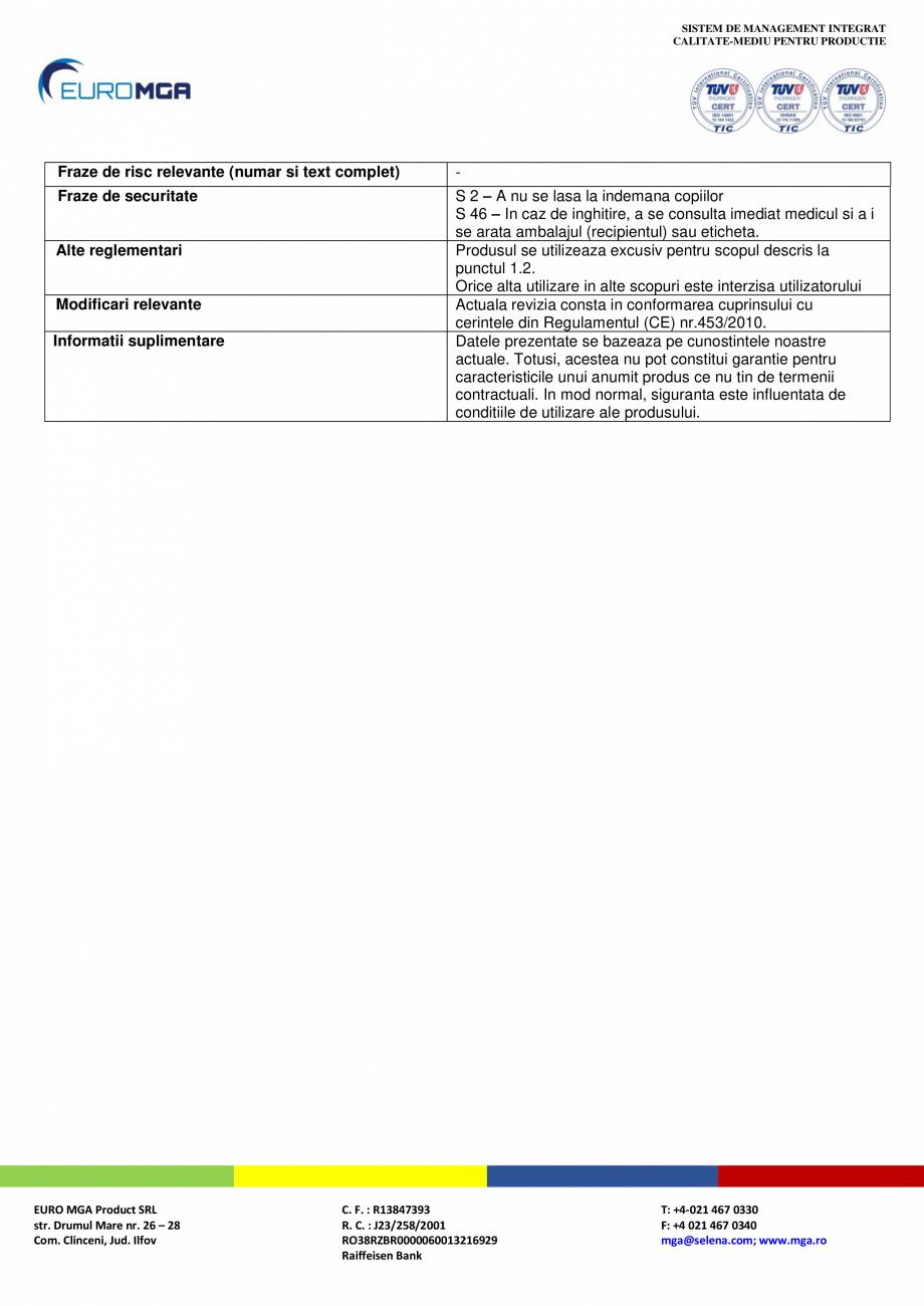 Pagina 6 - Amorsa pentru tencuieli decorative acrilice si siliconice - Fisa cu date de securitate...