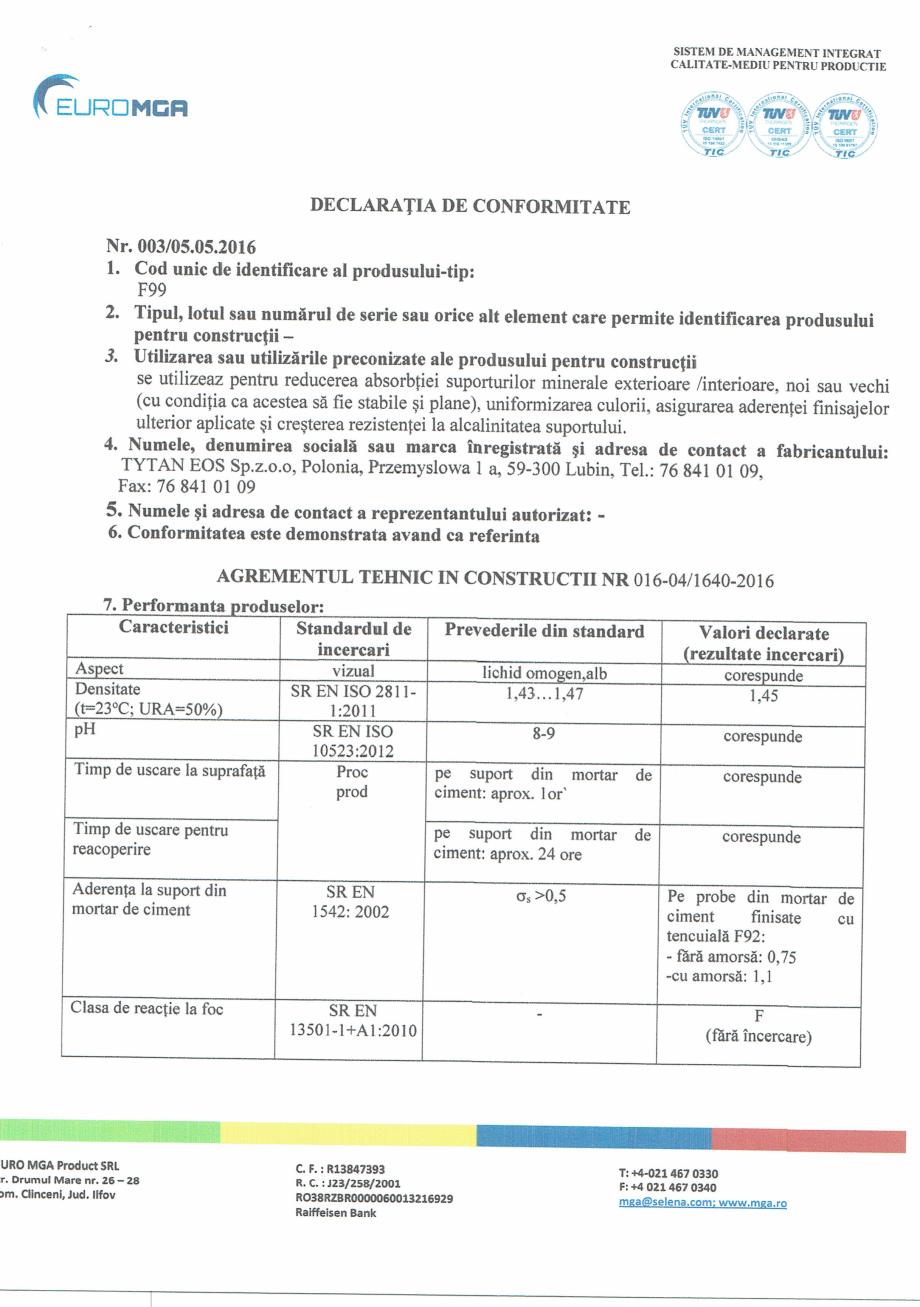 Pagina 1 - Declaratia de conformitate amorsa pentru tencuieli decorative acrilice si siliconice EURO...