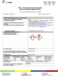 Tencuiala decorativa minerala - Fisa cu date de securitate