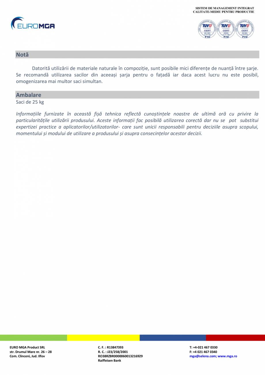 Pagina 3 - Tencuiala decorativa minerala structurata EURO MGA F91 Fisa tehnica Romana  operă se va ...