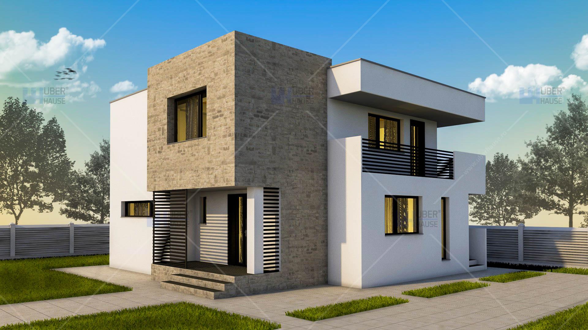 Lucrari proiecte proiect casa cubiqa uberhause poza 1 for Case cu etaj