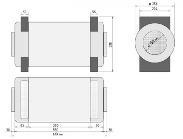 Schiță dimensiuni Recuperator de caldura - PRANA 250