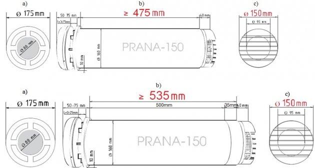 Schiță dimensiuni Recuperator de caldura - PRANA 150 PREMIUM PLUS