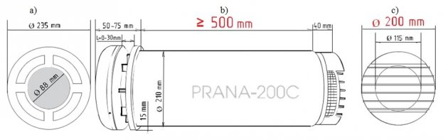 Schiță dimensiuni Recuperator de caldura - PRANA 200C PREMIUM PLUS