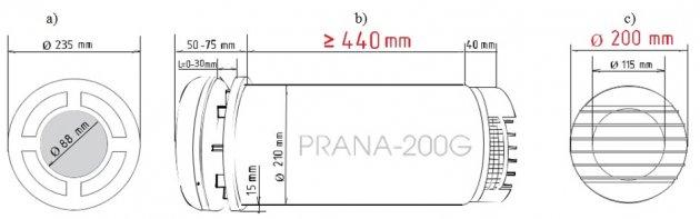 Schiță dimensiuni Recuperator de caldura - PRANA 200G PREMIUM PLUS